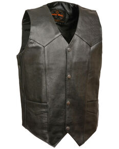 Milwaukee Leather Men's Black Snap Front Biker Vest - Big, Black, hi-res