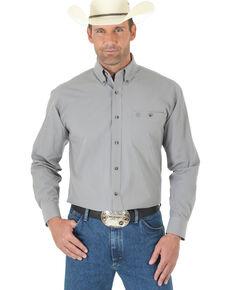 George Strait by Wrangler Men's Grey Solid Long Sleeve Western Shirt , Grey, hi-res