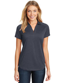 Port Authority Women's  Dark Grey Digi Heather Performance Polo, Grey, hi-res