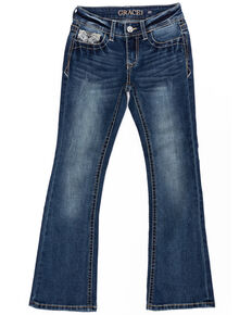 Grace in LA Girls' Medium Embellished Bootcut Jeans, Blue, hi-res
