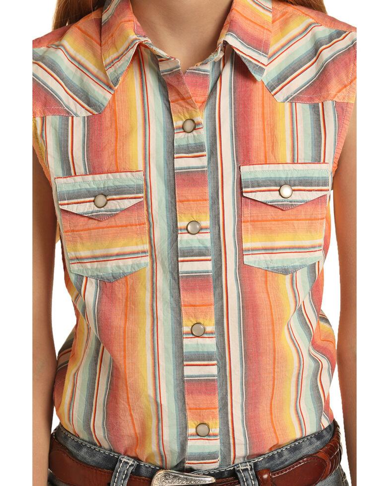 Dale Brisby For Rock & Roll Cowgirl Girls' Serape Snap Sleeveless Western Shirt, Orange, hi-res