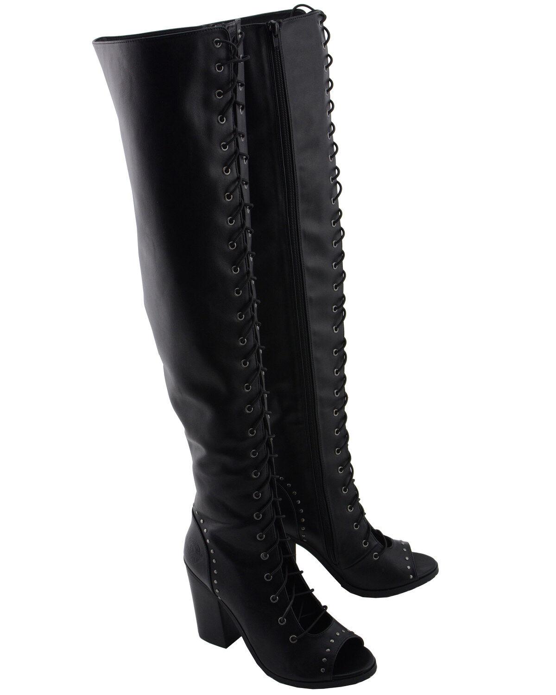 knee high boots heels open toe