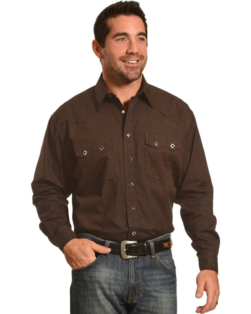 Rough Stock by Panhandle Men's Black Diamond Snap Shirt , Black, hi-res