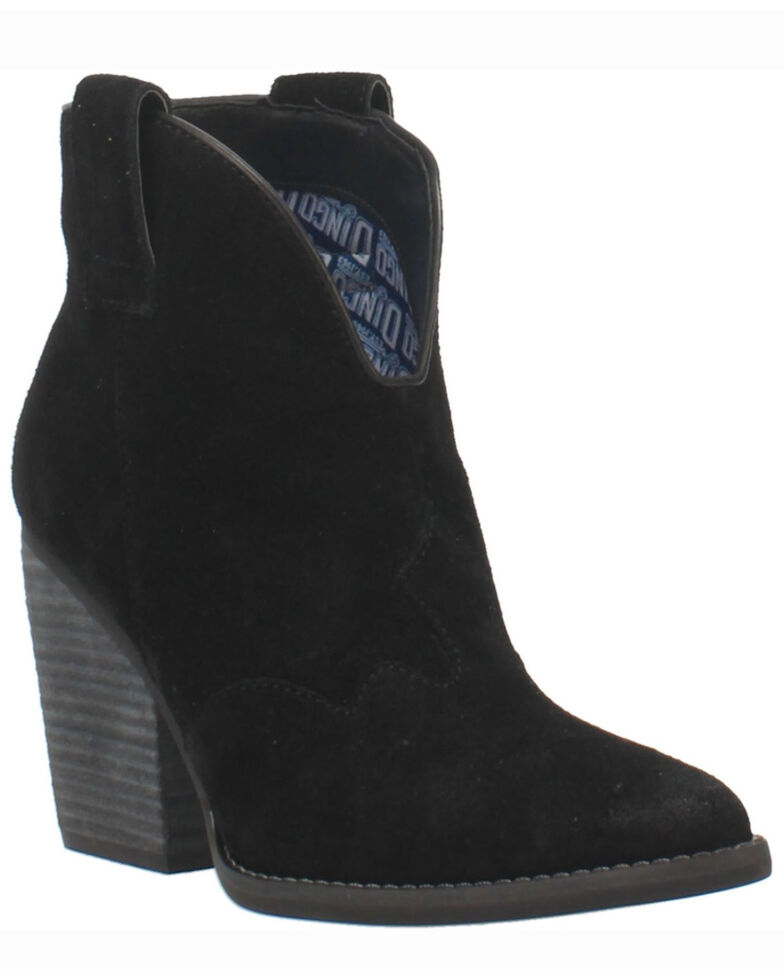 Dingo Women's Black Flannie Fashion Booties - Round Toe, Black, hi-res