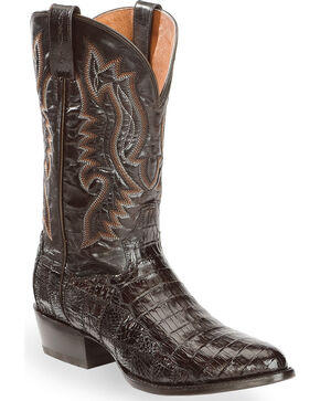 Dan Post Men's Everglades Chocolate Belly Caiman Cowboy Boots - Medium Toe, Chocolate, hi-res