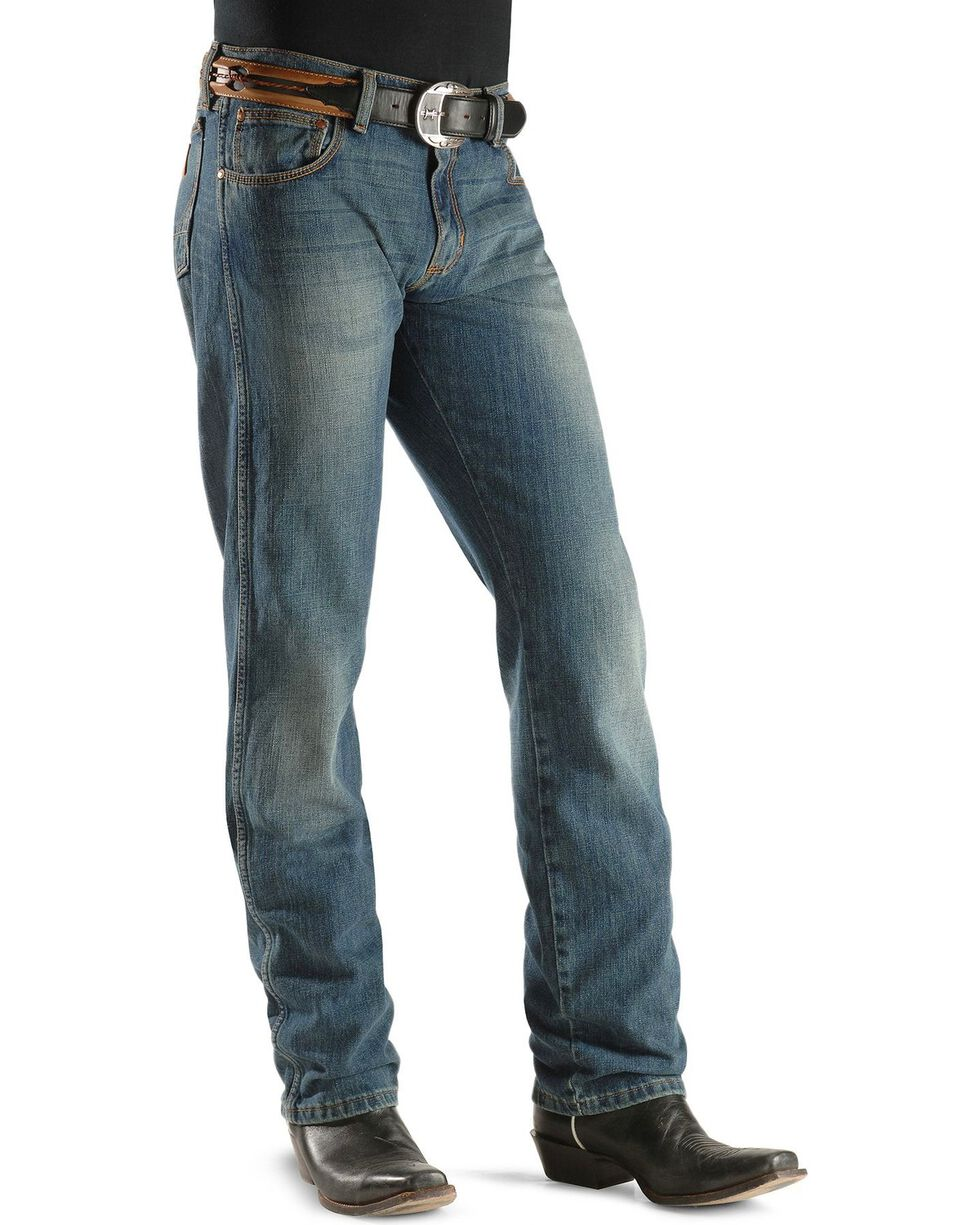 Wrangler RETRO Men's Slim Straight Premium Denim, Faded Blue, hi-res