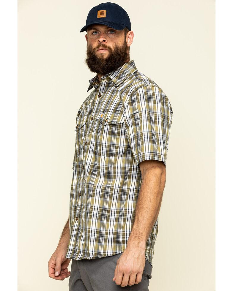 Carhartt Men's Warm Yellow Plaid M-Force Relaxed Short Sleeve Work Shirt , Yellow, hi-res