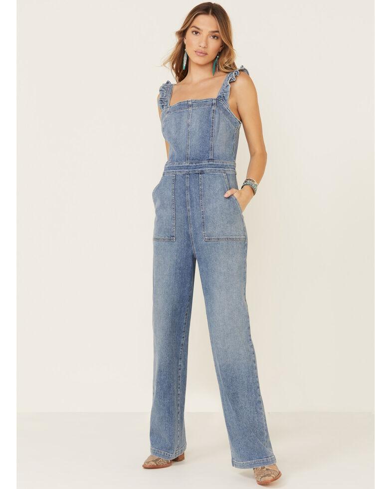 Ariat Women's Blue Denim Ruffle Overalls, Blue, hi-res