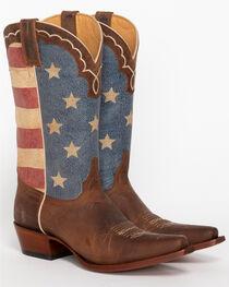 Shyanne® Women's American Flag Snip Toe Boots, Brown, hi-res