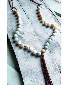 Jewelry Junkie Faceted Amazonite Tassel Necklace, Blue, hi-res