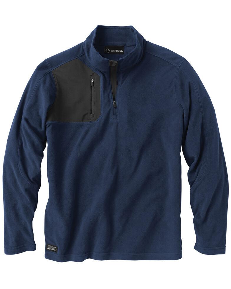 Dri Duck Men's Interval Quarter-Zip Fleece Pullover - Big, Navy, hi-res