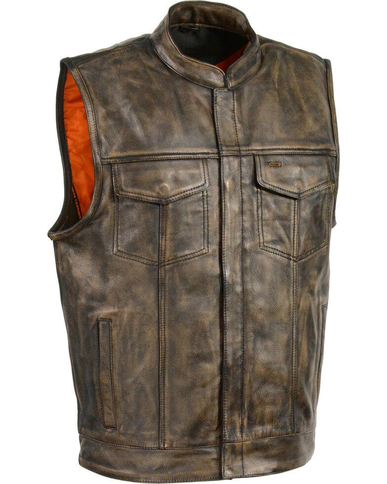 Milwaukee Leather Men's Open Neck Snap/Zip Front Club Style Vest, Black/tan, hi-res