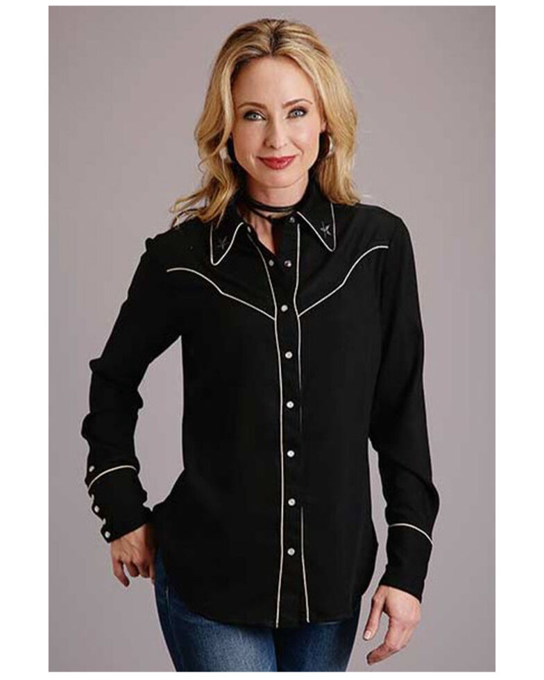 Stetson Women's Black Star Long Sleeve Western Shirt , Black, hi-res