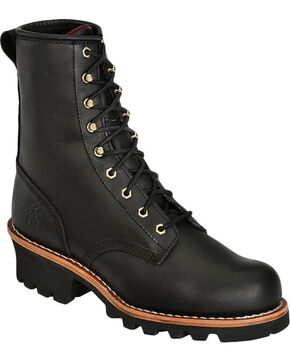 Chippewa Men's Steel Toe Logger Work Boots, Black, hi-res