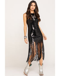 Chrysanthemum Women's Black Fringe Sequin Dress, Black, hi-res