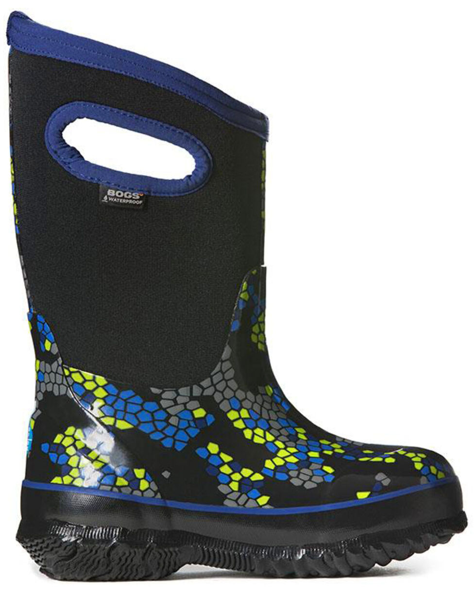 Bogs Boys' Classic Axel Waterproof Boots - Round Toe, Black, hi-res