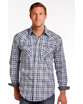 Rough Stock by Panhandle Blue Northridge Ombre Plaid Snap Shirt, Blue, hi-res