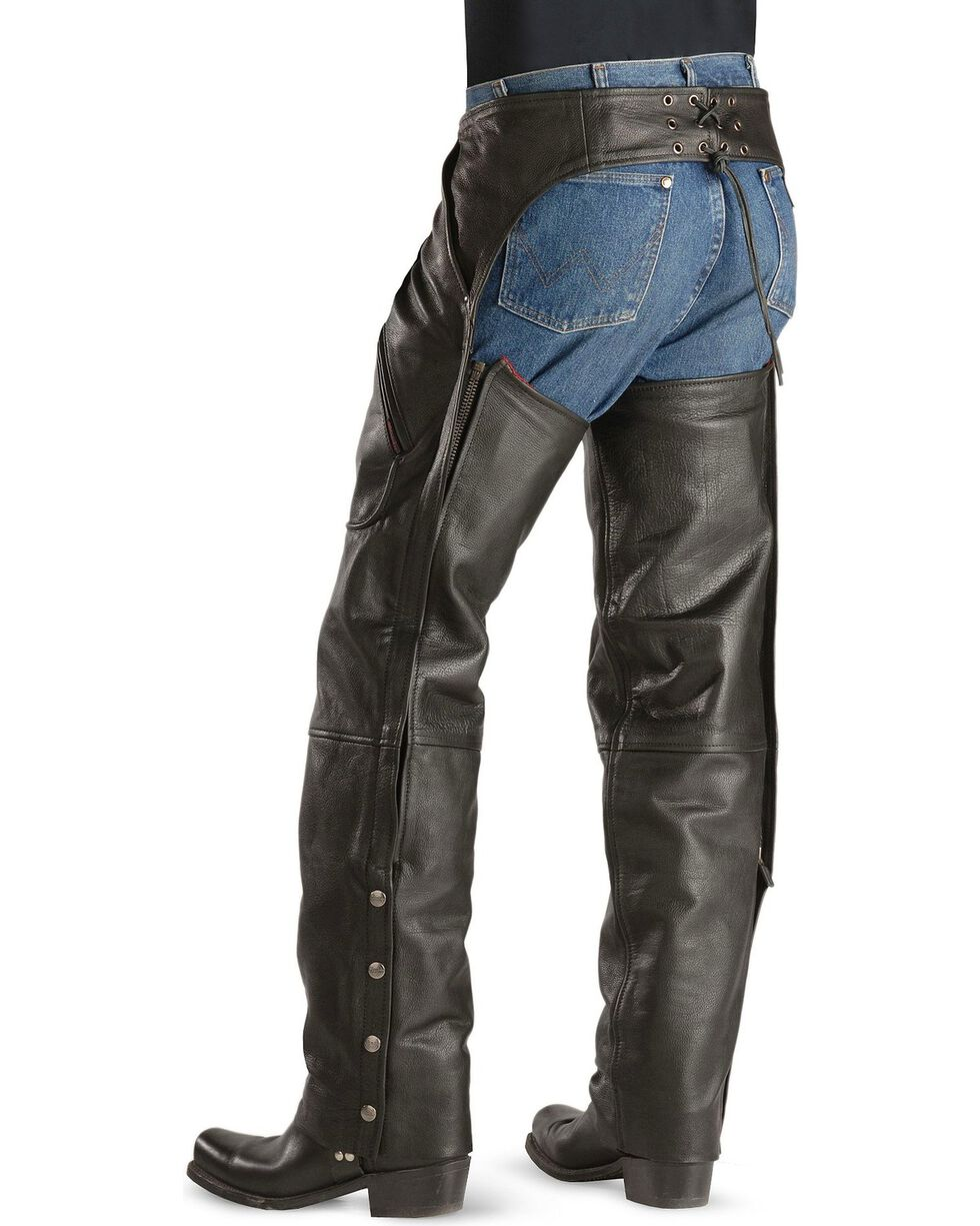 Milwaukee Unisex Gunslinger Leather Motorcycle Chaps, Black, hi-res