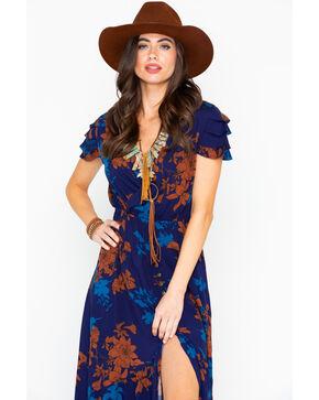 Sadie and Sage Women's Light Of The Moon Ruffle Short Sleeve Maxi Dress, Navy, hi-res