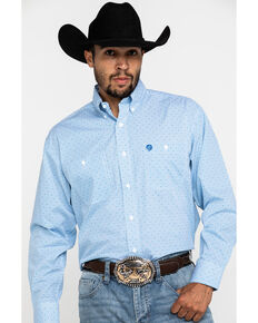 George Strait by Wrangler Men's Blue Small Dot Geo Print Long Sleeve Shirt, Blue, hi-res