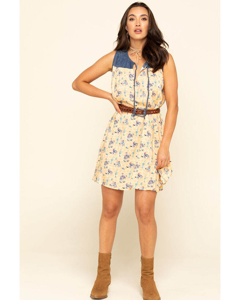 Five Star Women's Yellow Bronco Dress , Yellow, hi-res