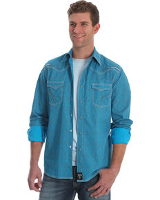 Rock 47 by Wrangler Men's Teal Print Long Sleeve Western Shirt , Teal, hi-res