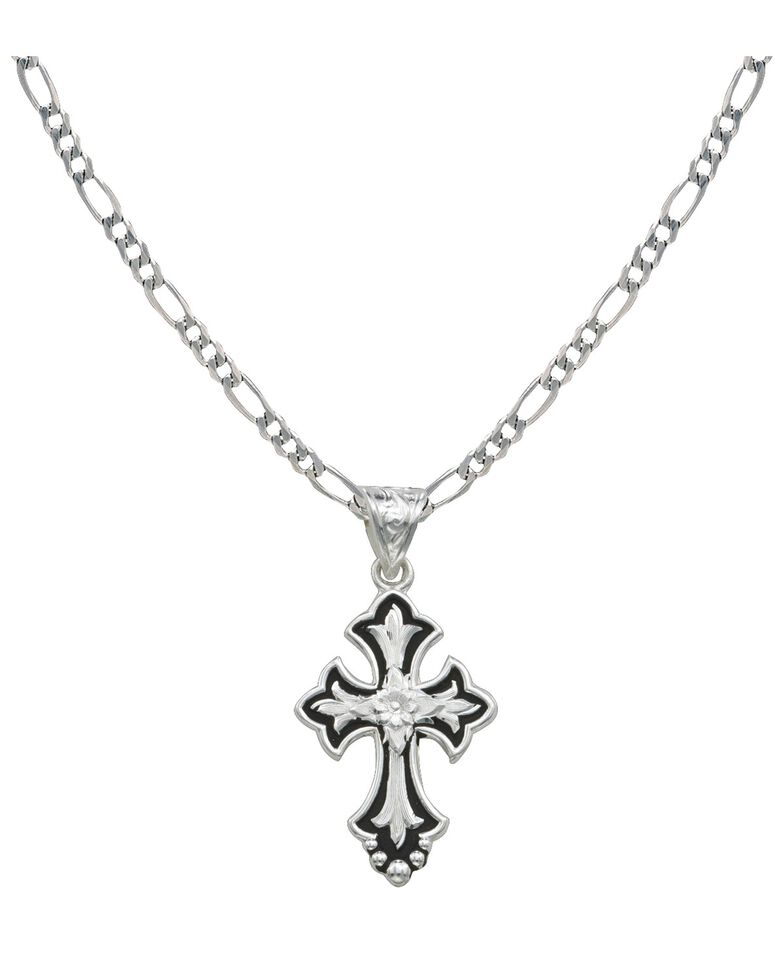 Montana Silversmiths Silver and Black Cross Necklace, Silver, hi-res