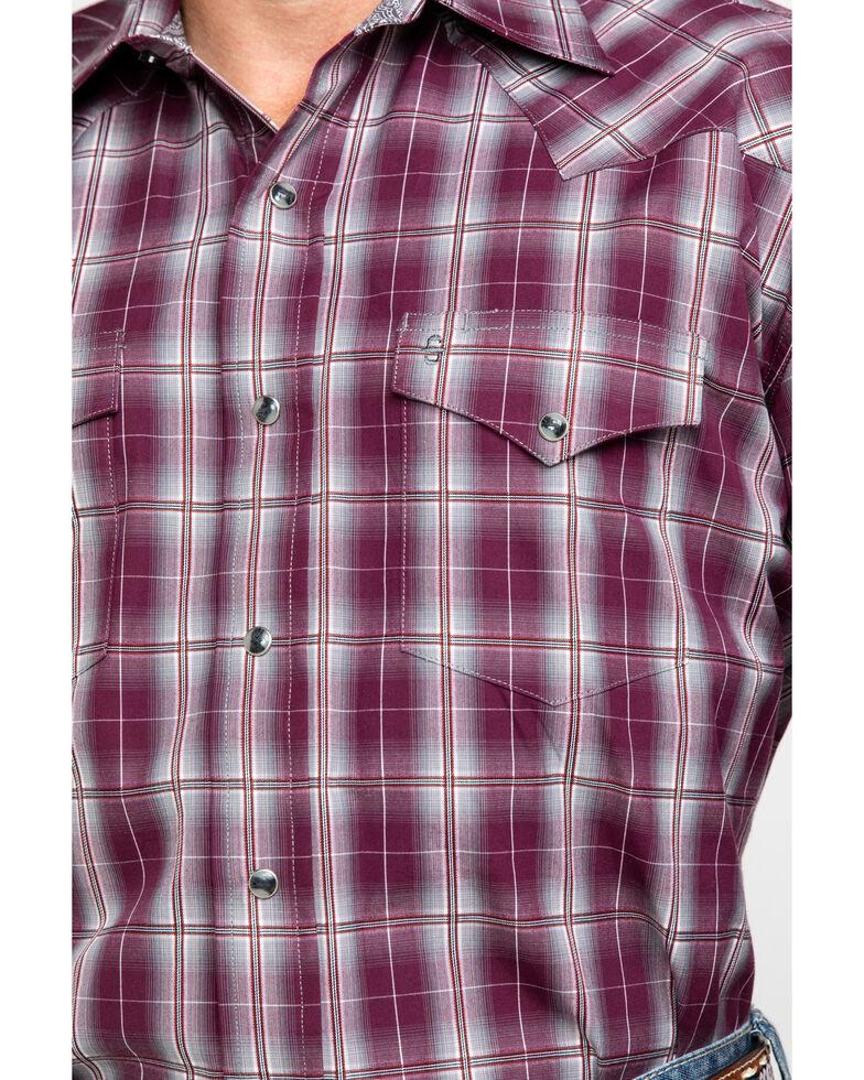 Stetson Men's Cedar Ombre Plaid Long Sleeve Western Shirt , Wine, hi-res