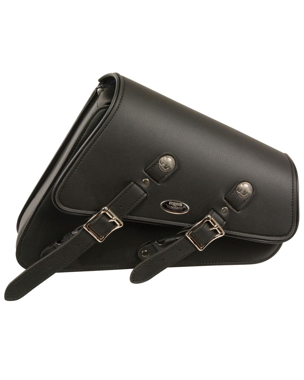 Milwaukee Leather Right Side Heavily Slanted Swing Arm Bag, Black, hi-res