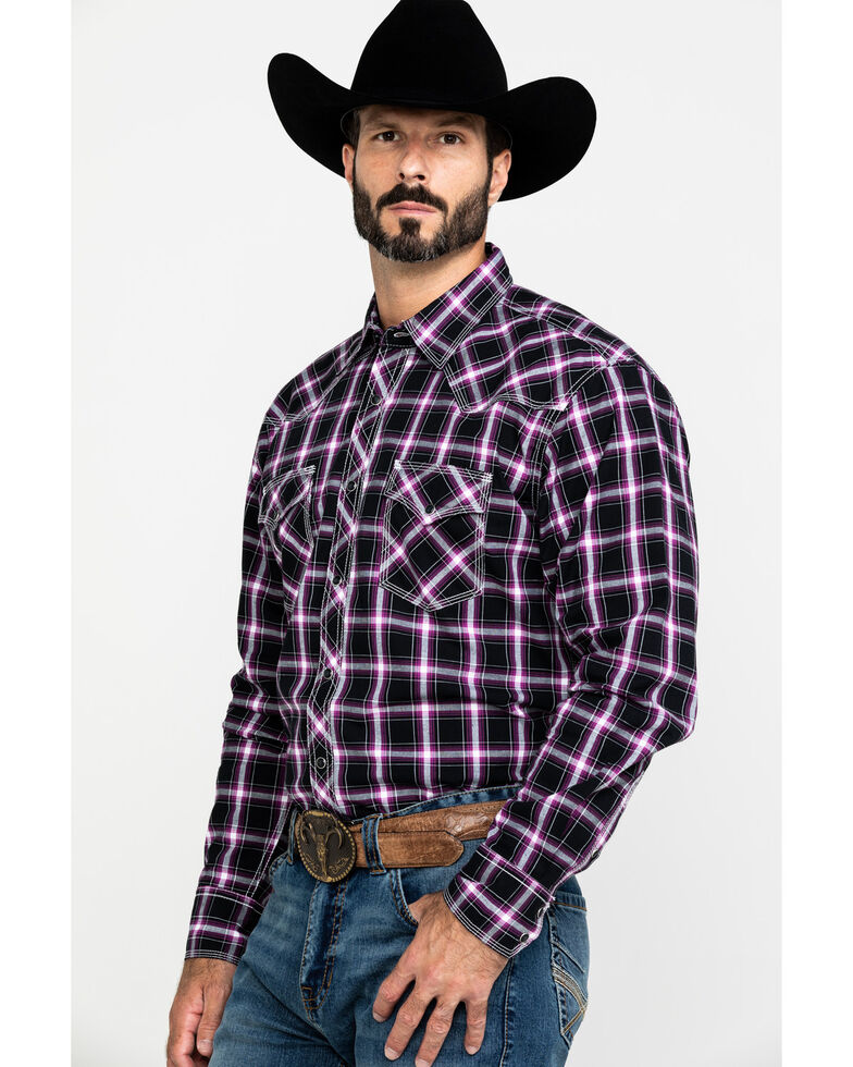 Wrangler 20X Men's Advanced Comfort Plaid Long Sleeve Western Shirt , Black/purple, hi-res