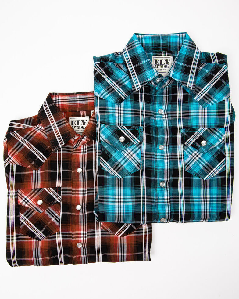 Ely Cattleman Boys' Assorted Multi Plaid Woven Long Sleeve Western Shirt , Multi, hi-res