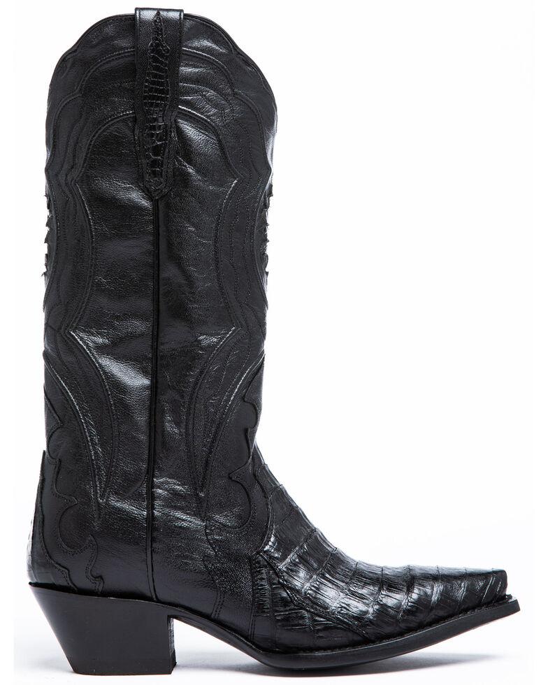 Dan Post Women's Black Caiman Belly Western Boots - Snip Toe, , hi-res