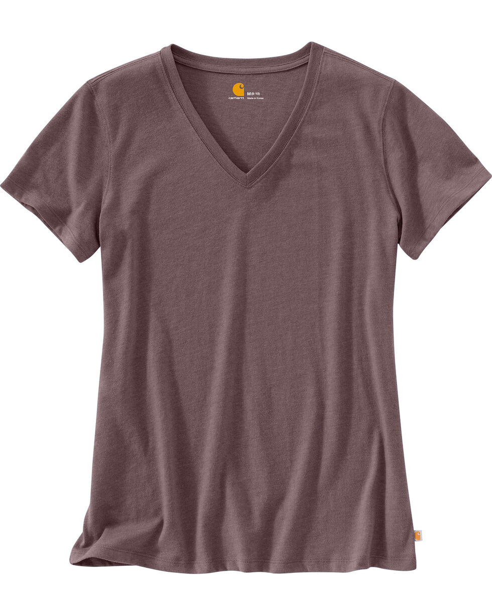Carhartt Women's Lockhart Short Sleeve V-Neck T-Shirt, Medium Purple, hi-res