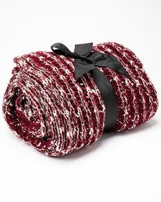 Boot Barn Ranch Burgundy Lurex Rib Knit Blanket, Burgundy, hi-res