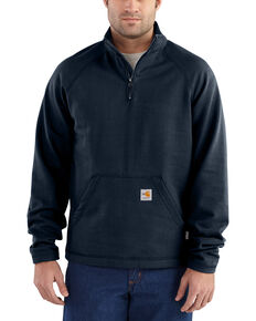Carhartt Men's Flame Resistant Force Quarter-Zip Fleece Pullover - Big & Tall, Navy, hi-res