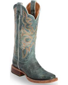 "Justin Bent Rail Women's 13"" Katia Turquoise Cowgirl Boots  - Square Toe, Medium Yellow, hi-res"