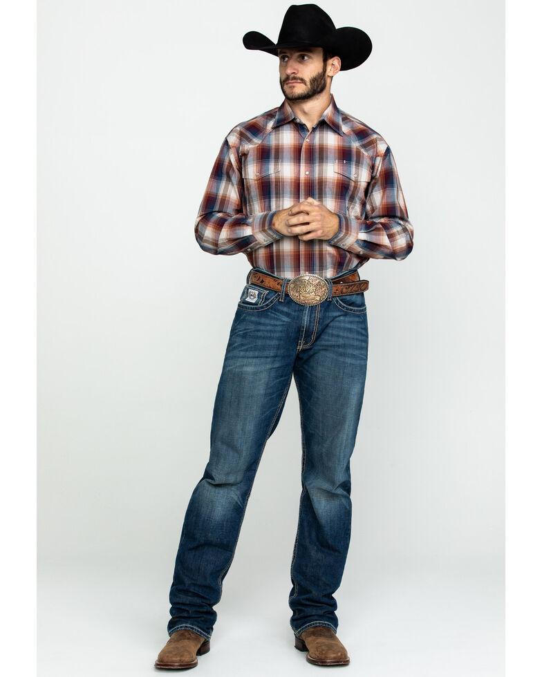 Roper Men's Amarillo Blanket Ombre Med Plaid Long Sleeve Western Shirt , Brown, hi-res