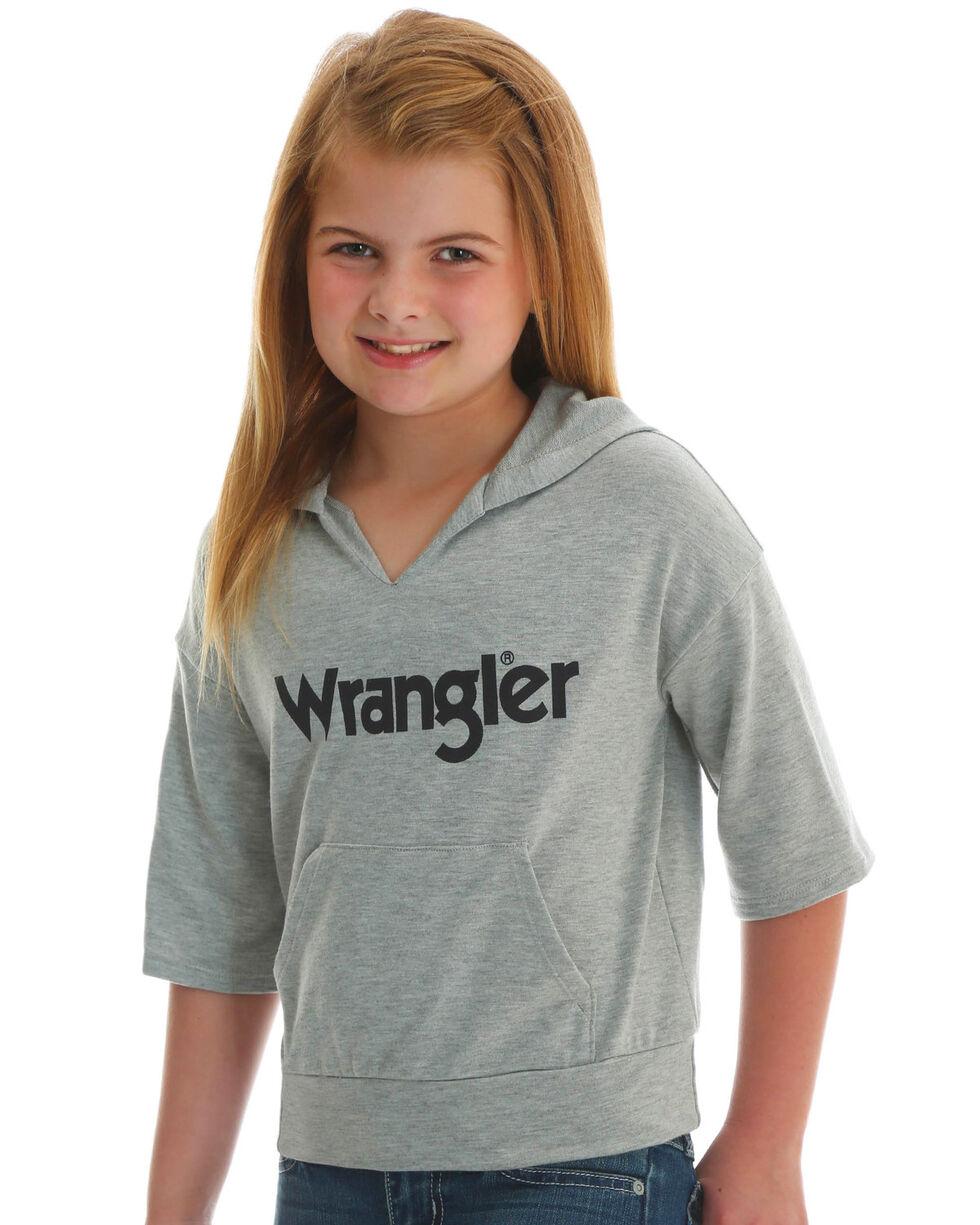 Wrangler Girls' Gray Short Sleeve Wrangler Hoodie , Grey, hi-res