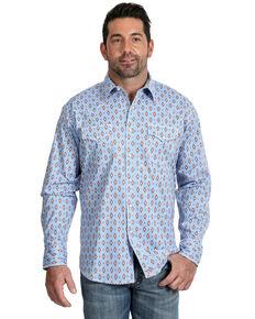 Wrangler 20X Men's Advanced Comfort Light Blue Aztec Print Long Sleeve Western Shirt , Light Blue, hi-res