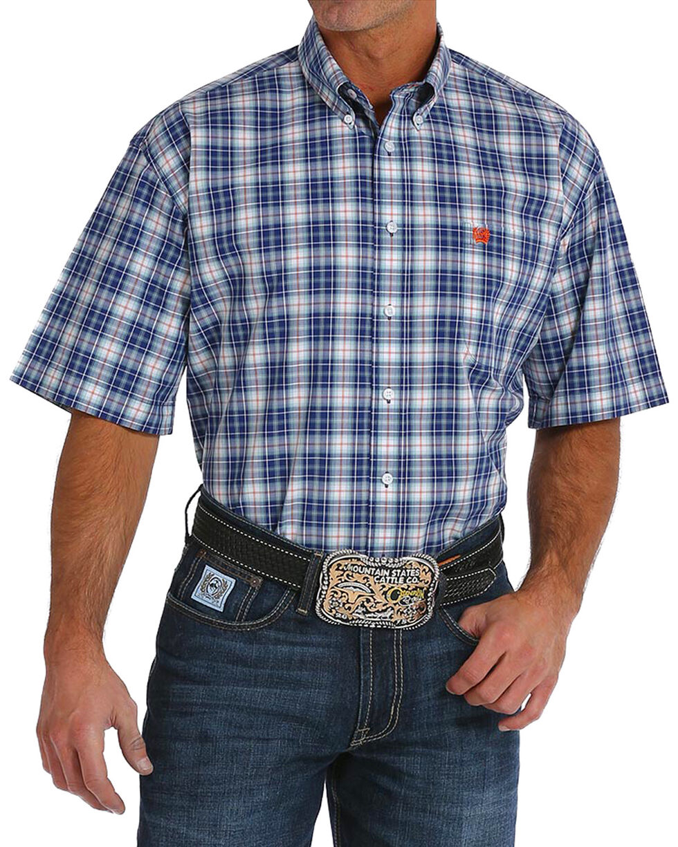 Cinch Men's Navy Plaid Short Sleeve Button Down Shirt, , hi-res