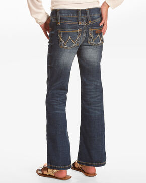 Wrangler Girls' Multi Stitch Boot Cut Slim Fit Jeans, Blue, hi-res