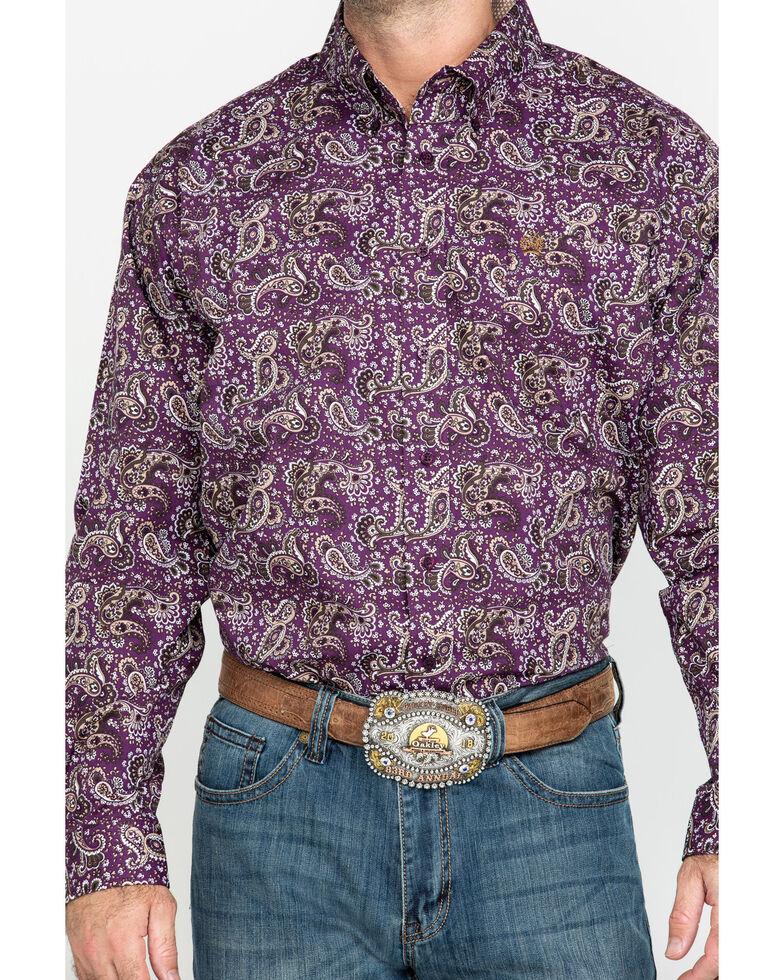 Cinch Men's Purple Paisley Print Long Sleeve Western Shirt - Big , Purple, hi-res