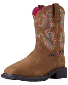 Ariat Women's Krista Metguard Western Work Boots - Steel Toe, Brown, hi-res