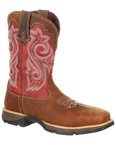 Durango Women's Rebel Waterproof Western Work Boots - Composite Toe , Brown, hi-res