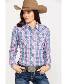 f04b360bac3 Ely Cattleman Women s Pink Plaid Snap Long Sleeve Western Shirt