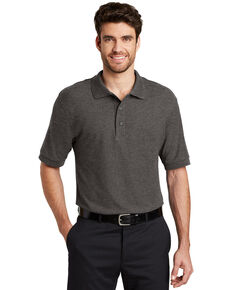 Port Authority Men's Cool Grey Silk Touch Short Sleeve Polo Shirt , Charcoal, hi-res