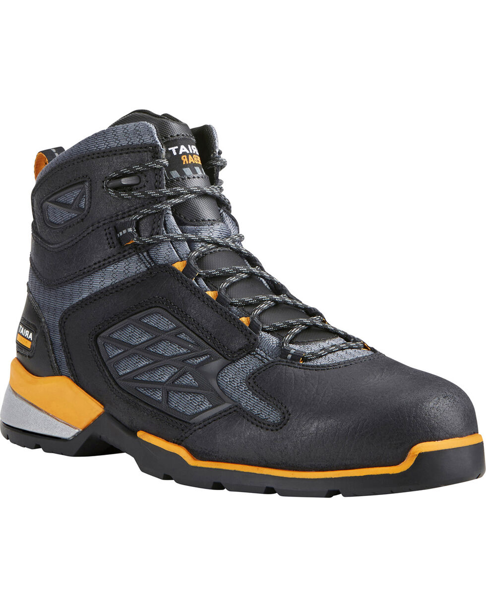 "Ariat Men's Rebar Flex 6"" Black Work Boots - Composite Toe, Black, hi-res"