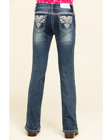 Grace in LA Girls' Dark Wash Tribal Bootcut Jeans, Blue, hi-res