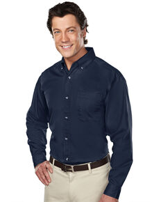 Tri-Mountain Men's Navy Large Professional Twill Long Sleeve Shirt - Tall, Navy, hi-res