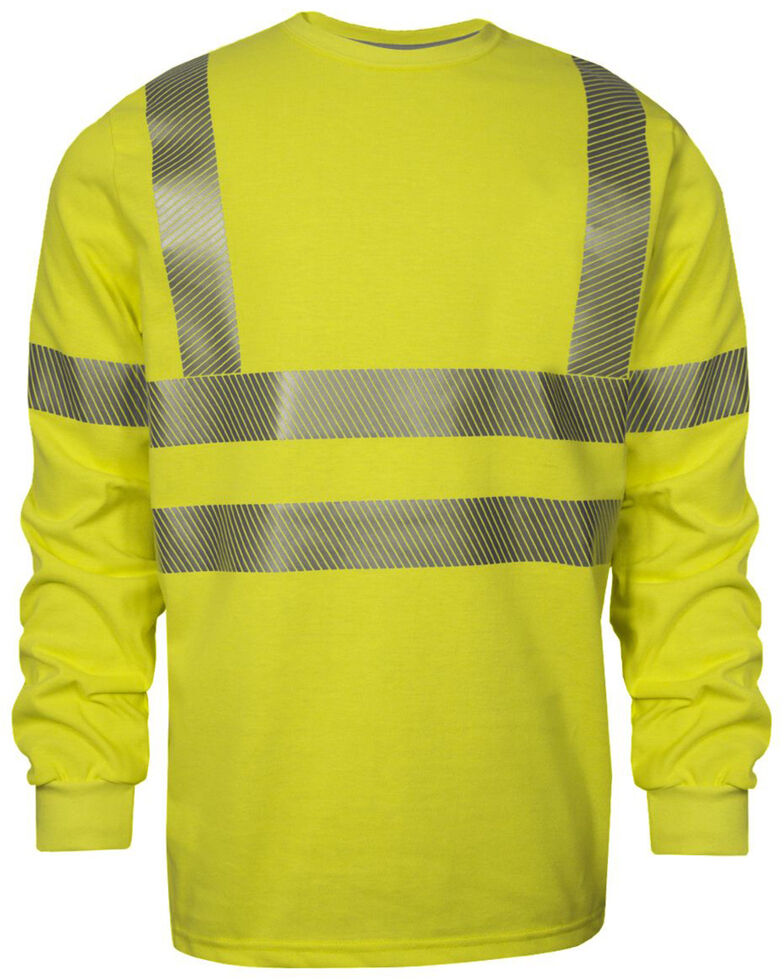 National Safety Apparel Men's 2X-3X FR Vizable Hi-Vis Long Sleeve Work T-Shirt - Tall , Bright Yellow, hi-res
